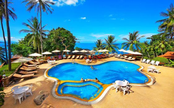 Photo free swimming pool, sea, tropics