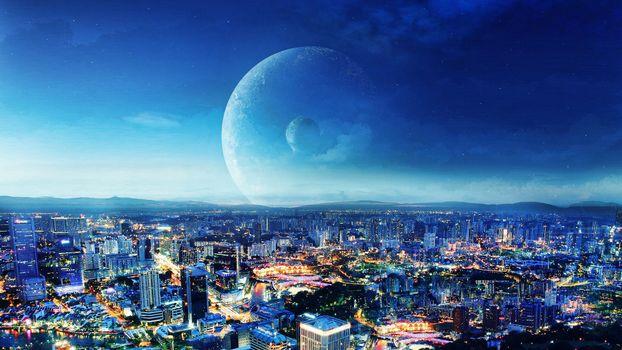 Бесплатные фото улицы,дома,высотки,луна,планета,спутник,небо,голубое,высота,вид,панорама,город