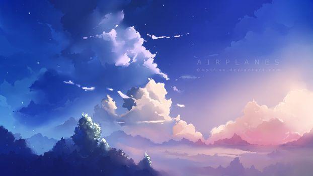 airplanes, арт, деревья, облака, apofiss