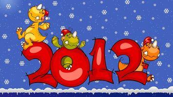 Бесплатные фото 2012,новый год,драконы,мультяшные,снег,рендеринг