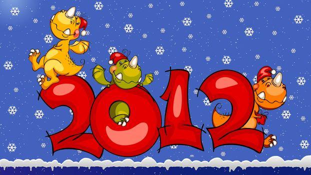 Фото бесплатно 2012, новый год, драконы, мультяшные, снег, рендеринг