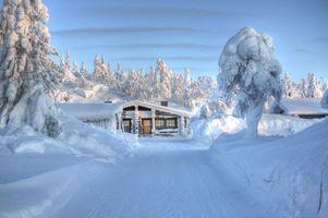 Фото бесплатно загородный дом, зима, снег