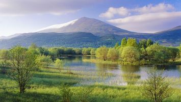 Бесплатные фото горы, деревья, река, лес, трава, небо, облака