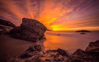 Бесплатные фото камни, море, закат, красный, небо, облака, природа