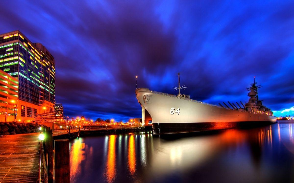Фото бесплатно корабль, город, ночь - на рабочий стол