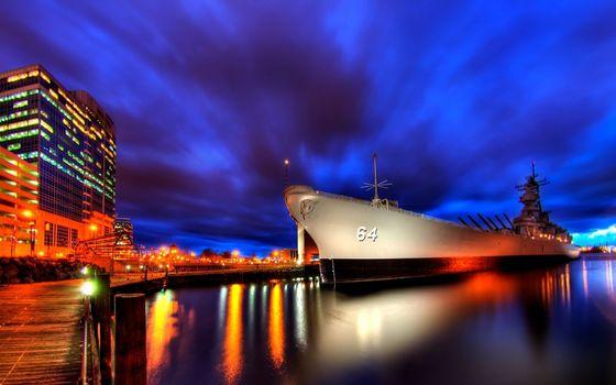 Бесплатные фото корабль,город,ночь