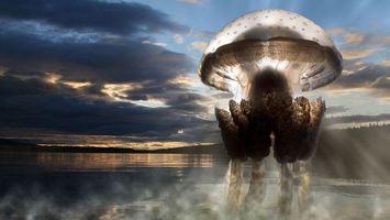 Обои медуза, зверь, хищник, плавники, тело, яд, небо, море, океан, вода, тучи, подводный мир