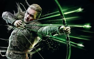 Фото бесплатно мужчина, воин, лук, стрелы, натянутая, тетива, рендеринг