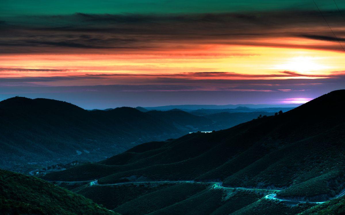 Фото бесплатно зелень, облака, закат - на рабочий стол