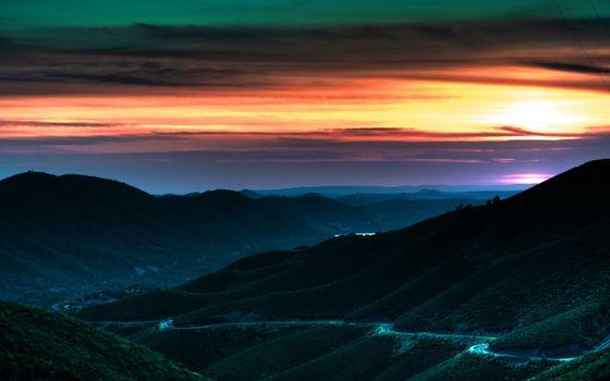 Фото бесплатно зелень, облака, закат