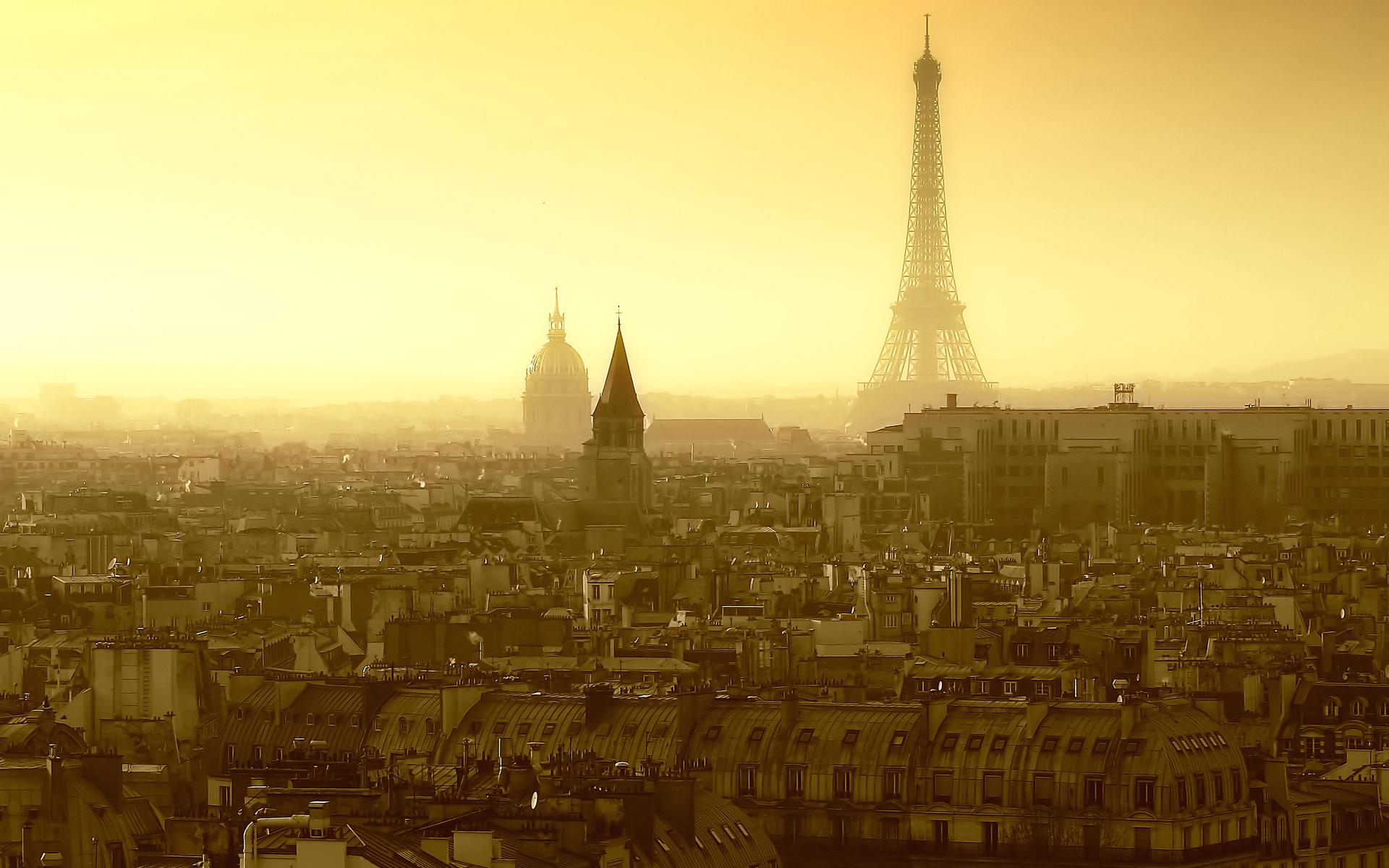 Париж эйфелева башня небо желтое