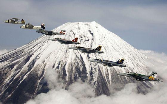 Фото бесплатно самолеты, горы, небо