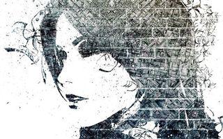 Фото бесплатно стена, кирпич, кладка, рисунок, графити, девушка, разное