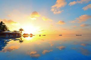 Бесплатные фото тропики, мальдивы, море, курорт, бассейн, закат, пейзажи