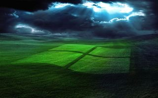 Фото бесплатно виндовс, заставка, обои, трава, поле, лето, тучи, небо, логотип, пейзажи