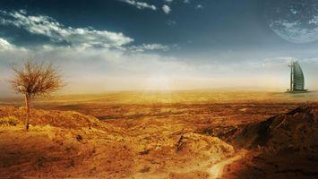 Бесплатные фото новый мир, планета, на горизонте, спутник, песок, дерево, постройки