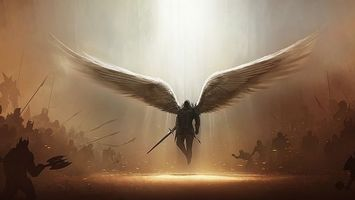 Бесплатные фото ангел,крылья,свет божий,меч,diablo 3