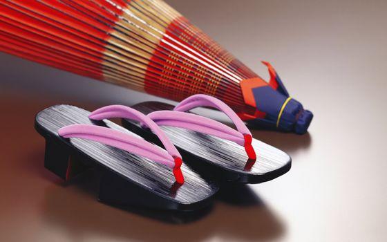Бесплатные фото тапочки,японские,культура,веер,разное