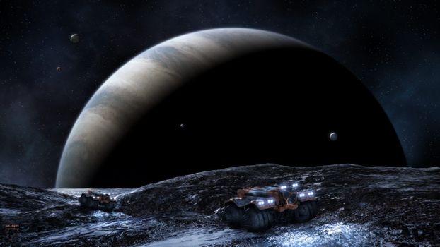 Фото бесплатно спутники, звезды, газовый гигант
