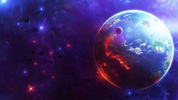 Фото бесплатно космос, звезды, планета