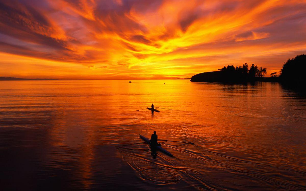 Фото бесплатно морской закат, две байдарки, небо - на рабочий стол