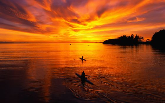 Фото бесплатно морской закат, две байдарки, небо
