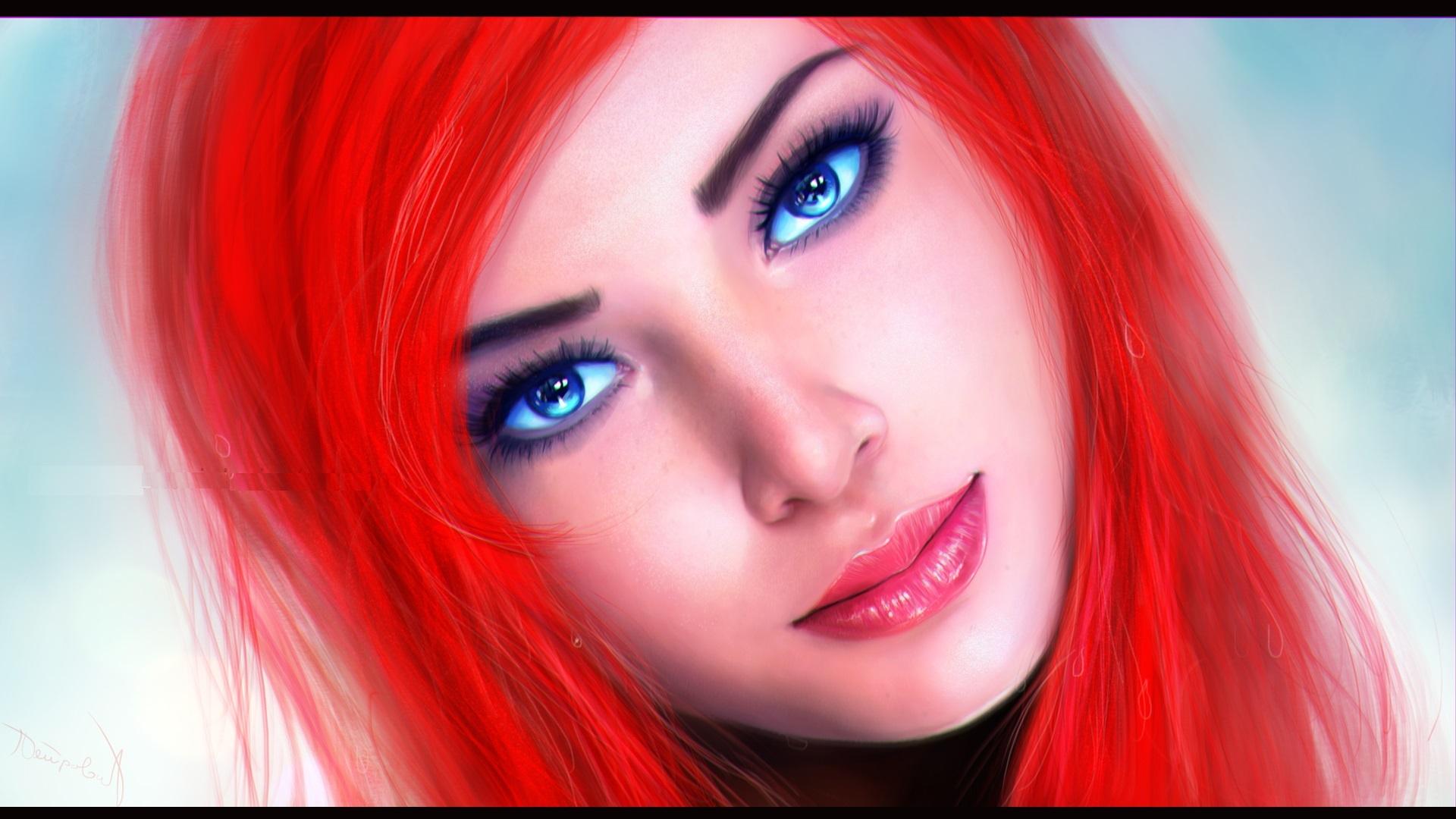 обои девушка, волосы, красные, глаза картинки фото