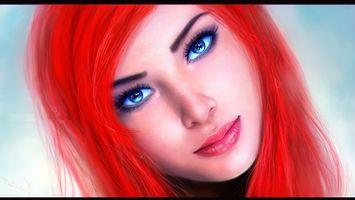 Бесплатные фото девушка,волосы,красные,глаза,голубые,губы,рендеринг