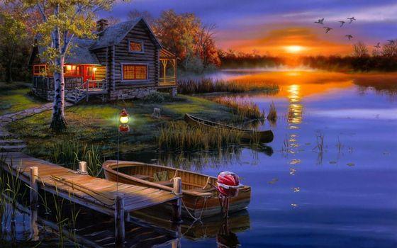 Фото бесплатно дом, закат, солнце