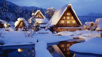 Фото бесплатно дома, снег, сугробы