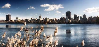 Бесплатные фото город,берег,река,трава,осень