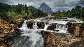 Фото бесплатно Glacier National Park, Montana, водопад