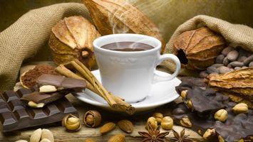 Обои кофе, чашка, орехи, шоколад, дым, блюдце, напитки