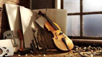 Обои комната, музыка, мусор, окно, струны, стенды