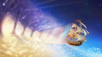 Бесплатные фото корабль,паруса,летит,небо,голубое,флаг,аниме