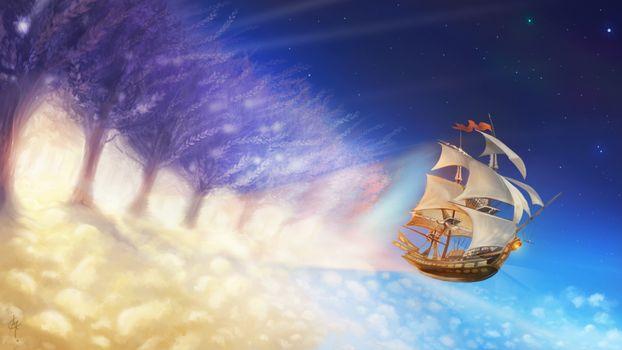 Фото бесплатно корабль, паруса, летит, небо, голубое, флаг, аниме