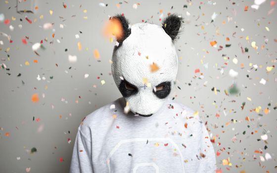 Бесплатные фото костюм,панда,маска,глаза,конфетти,цветное,праздники