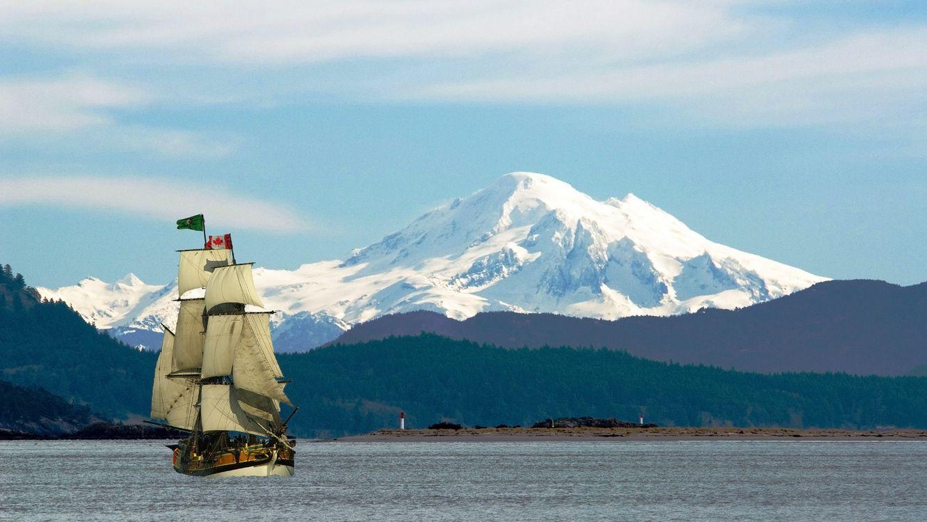 Фото бесплатно паруса, горы, море - на рабочий стол