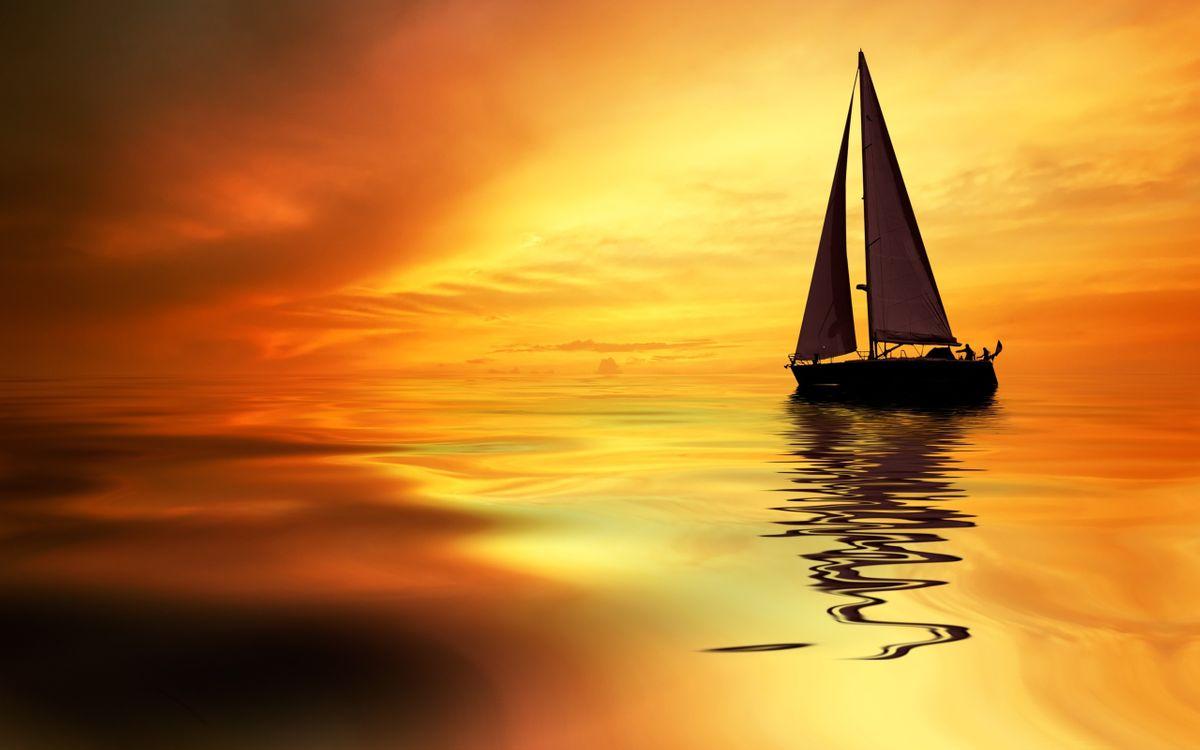 Фото бесплатно океан, море, закат, парус, лодка, люди, человек, отблеск, отражение, небо, облака, корабль, разное, корабли