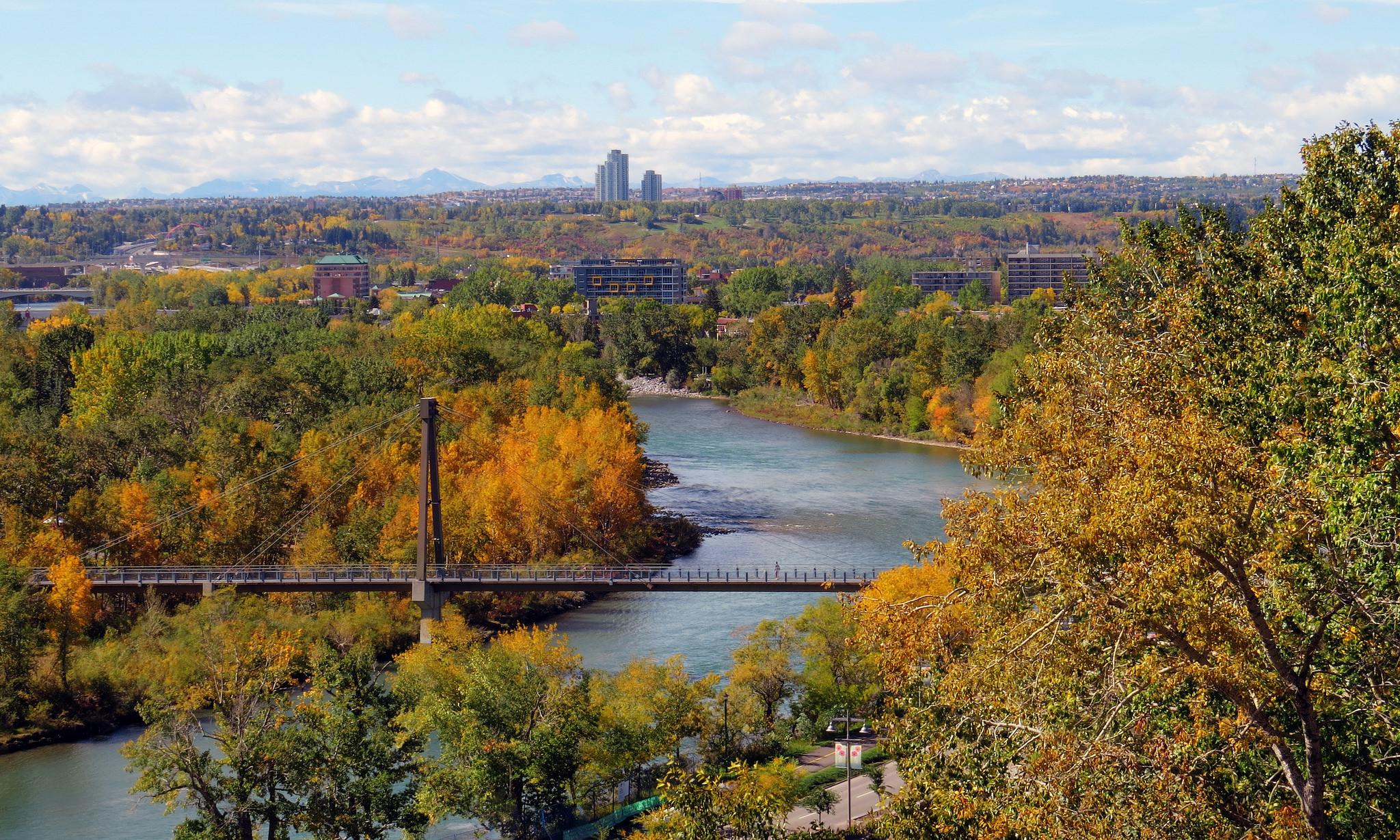 обои Реки Калгари, Альберта, Канада, осень картинки фото