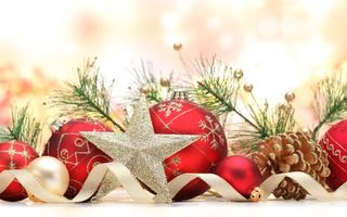Бесплатные фото шарики,красные,звездочки,ветки,иголки,подарок,ленточка