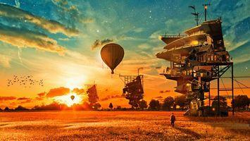 Бесплатные фото шары,воздушные,поле,человек,небо,звезды