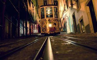 Фото бесплатно трамвай, дорога, рельсы