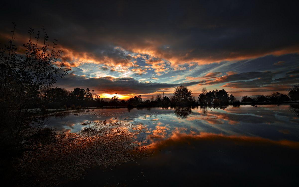 Фото бесплатно закат, деревья, пейзажи - на рабочий стол