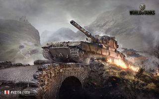 Бесплатные фото world of tanks,fv215b 183,пт-сау,танк,мир танков,мост,горы