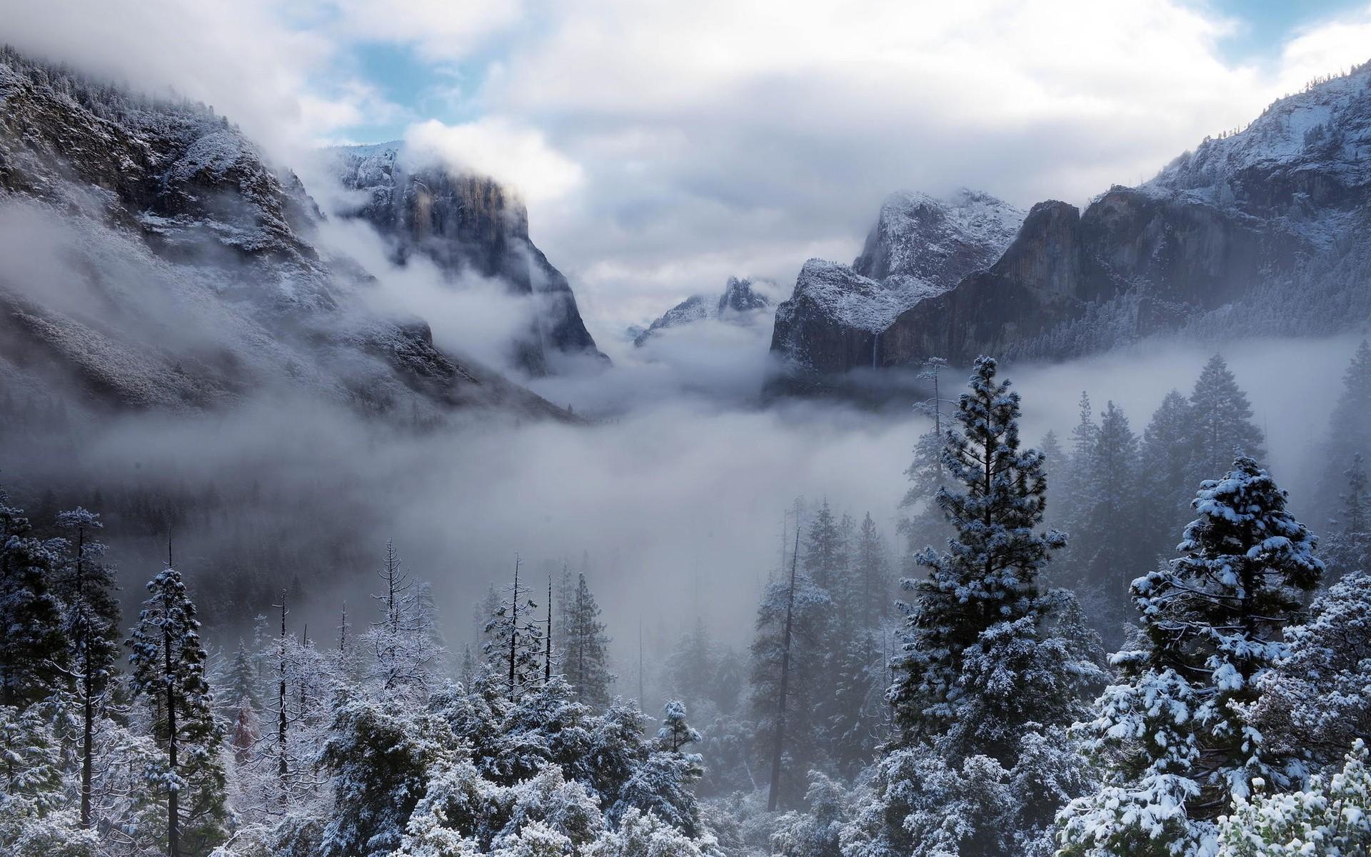 Обои зимние облака, горы, хвойный лес, снег, природа для рабочего ...