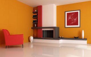 Обои квартира, интерьер, яркий, стиль, дизайн, комната