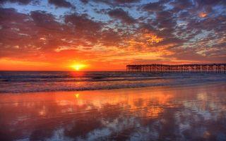 Бесплатные фото закат,океан,море,мостик,берег,бриз,облака