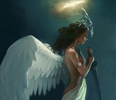 Бесплатные фото арт,francisco m™ndez,крылья,мечь,корона,ангел,фэнтези,девушки