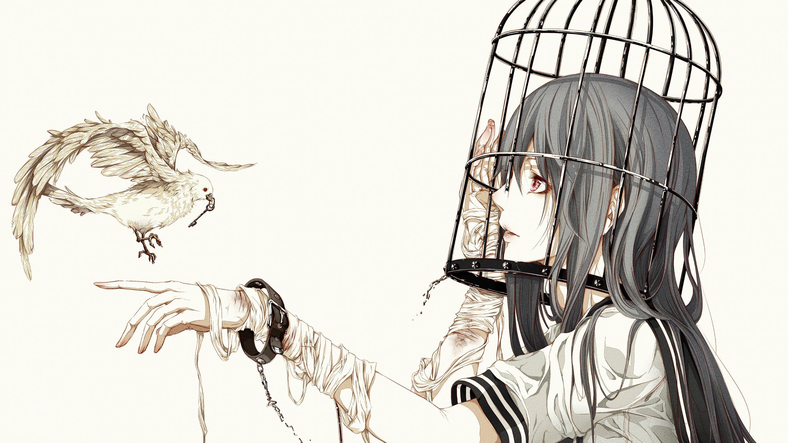 девушка, птица, клетка
